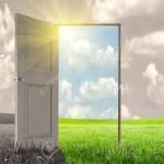 grey door green grass through door